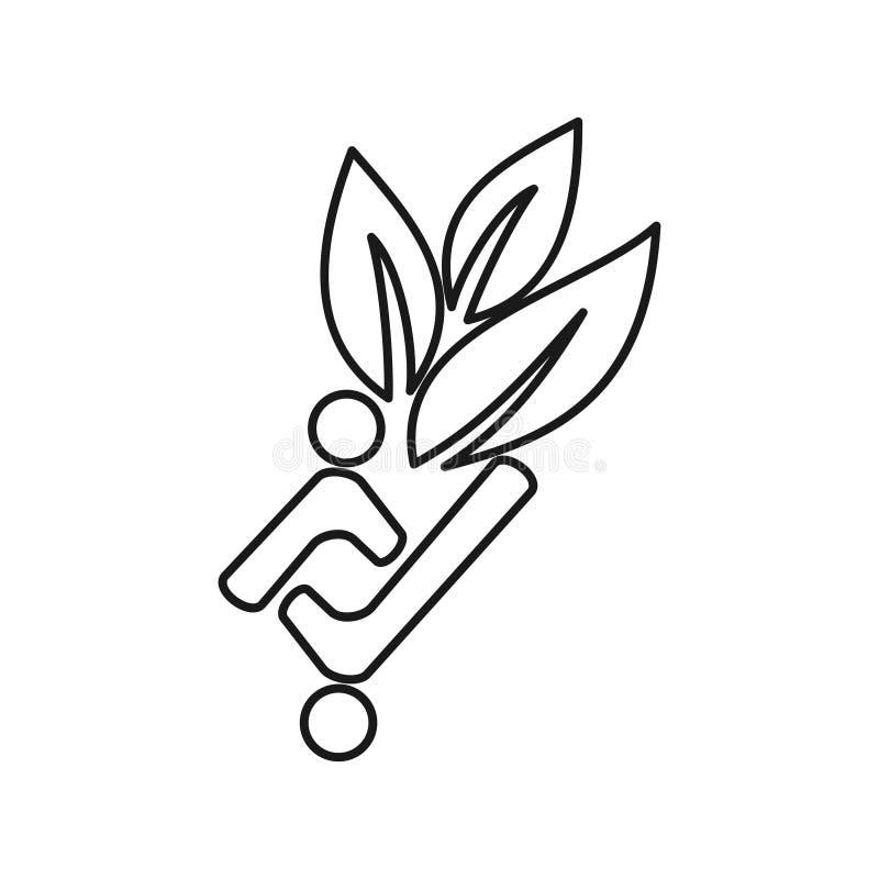 Leaf farming people Commitment Teamwork Together Outline Logo stock illustration