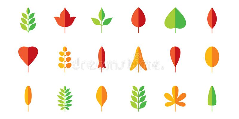 Leaf flat icon set. Vector collection. Tree leaves. Eco logo sign. Red, green, yellow. Spring, summer, autumn element royalty free illustration