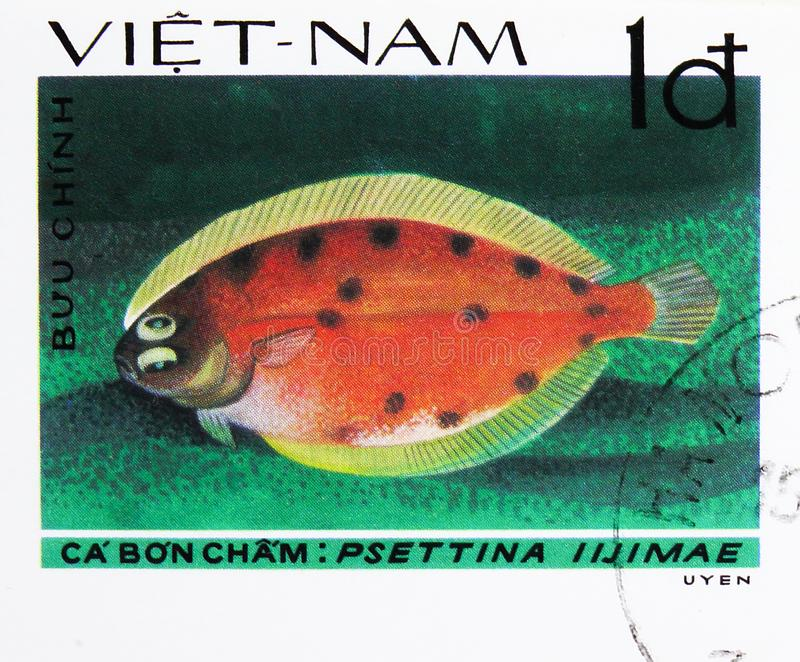 Leaf Flounder (Psettina iijimae), Fish - Soles / Flatfish serie, circa 1982. MOSCOW, RUSSIA - AUGUST 4, 2019: Postage stamp printed in Vietnam shows Leaf royalty free stock photography