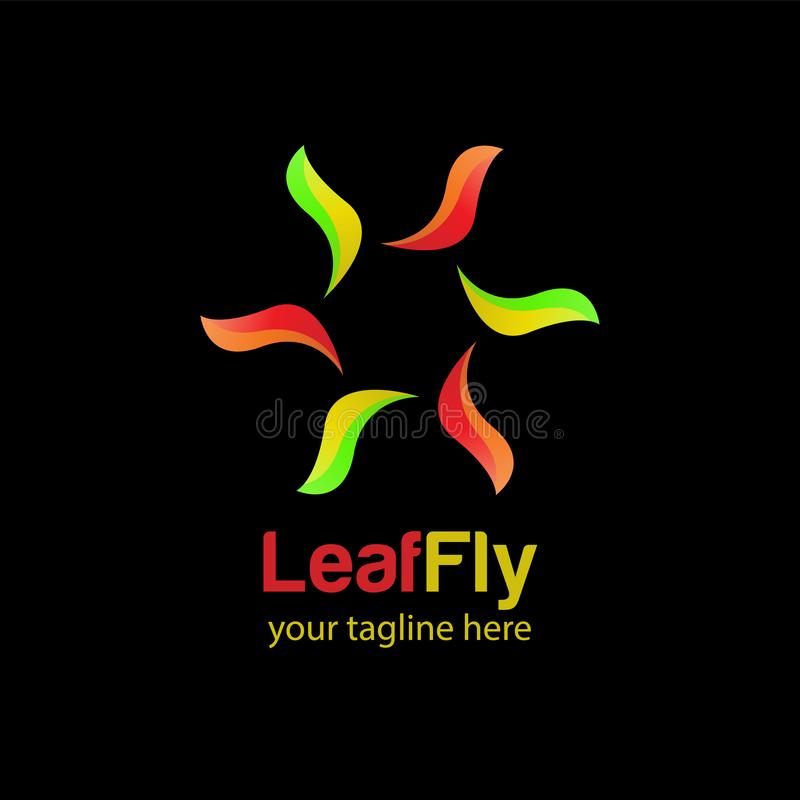 Leaf fly logo design template with black background royalty free stock images