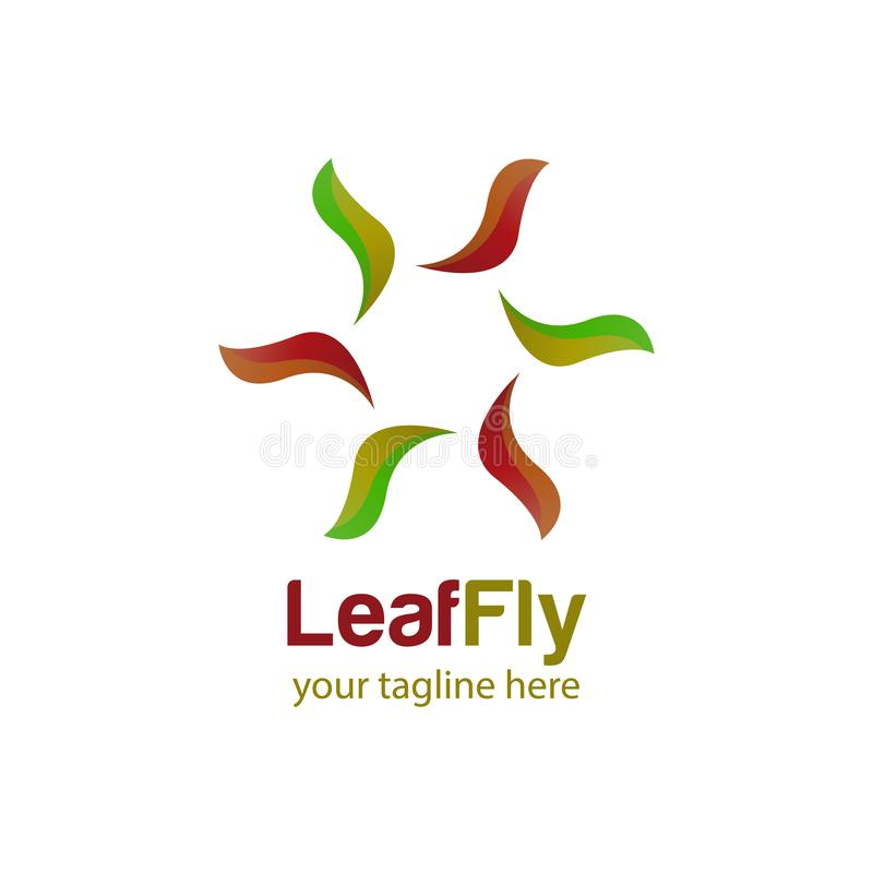 Leaf fly logo design template with white background royalty free stock photo