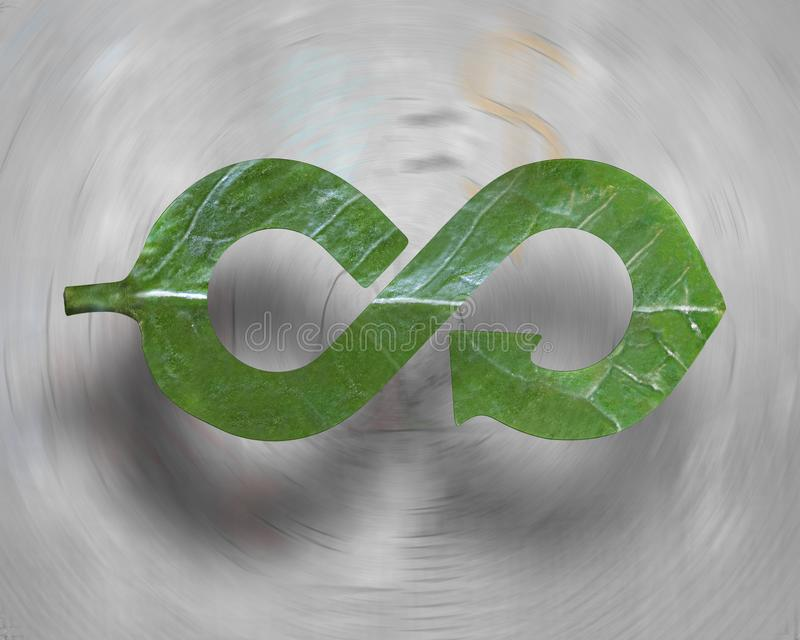 Leaf in form of arrow infinity recycling shape, circular economy. Transforming industry into green Eco-friendly and circular economy concept, leaf in form of royalty free stock images
