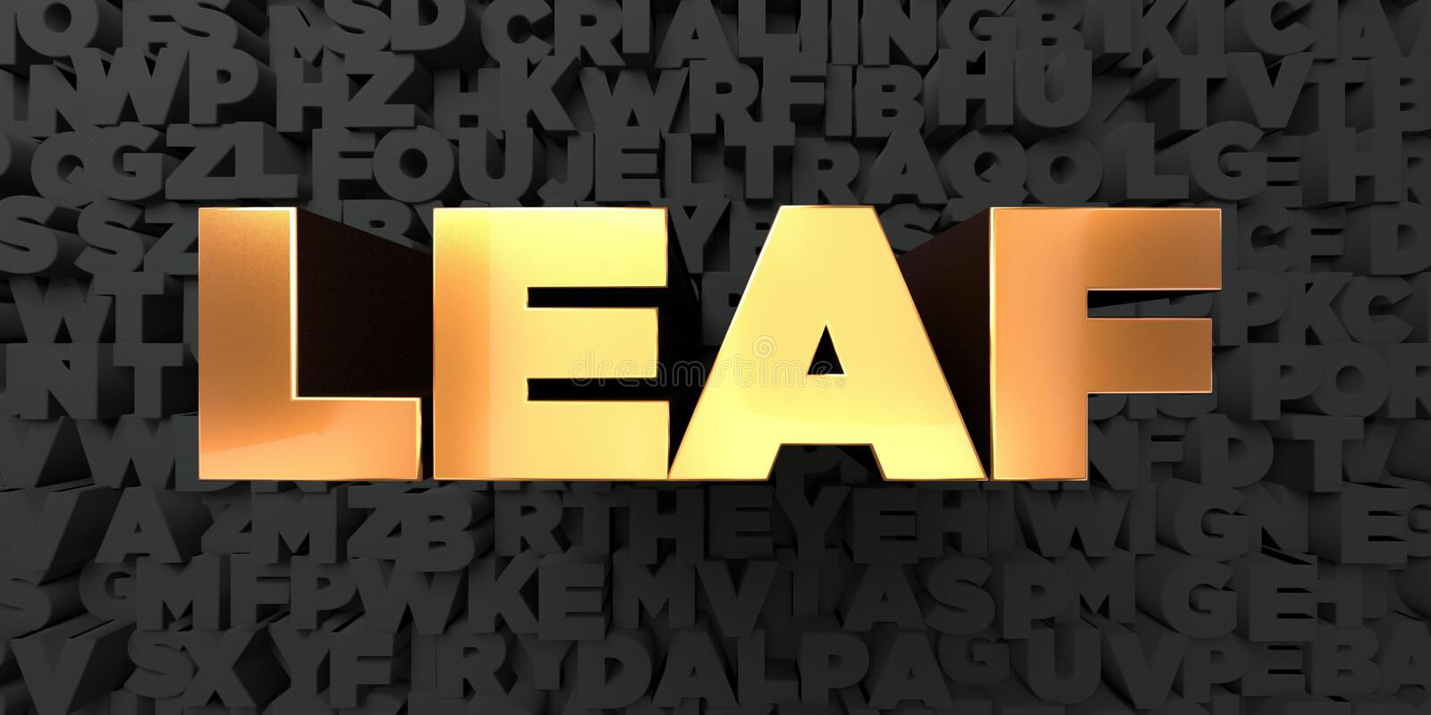 Leaf - Gold text on black background - 3D rendered royalty free stock picture royalty free illustration