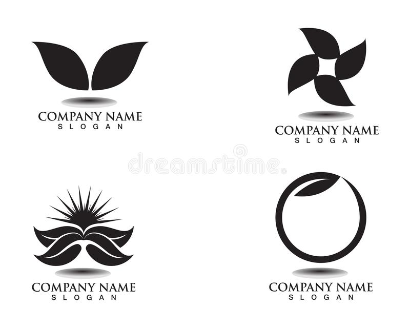 Leaf green nature logo and symbol template. Vector royalty free illustration