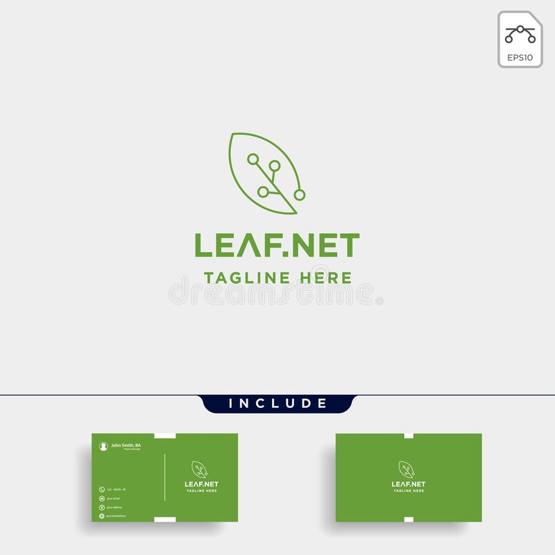 Leaf green technology logo design nature tech symbol icon. Illustration, online, internet, business, concept, simple, electric, network, circuit, wireless stock illustration