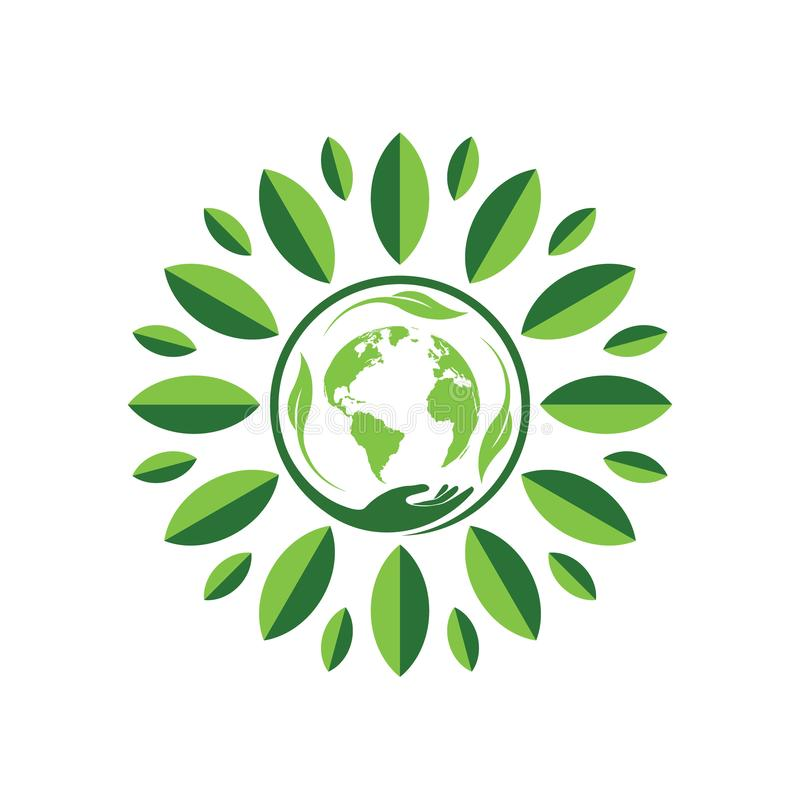 Leaf and hand earth circle. Circle of life happy earth days with leaf royalty free illustration