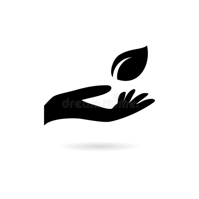 Leaf in hand icon, Leaf on the hand. On white background stock illustration