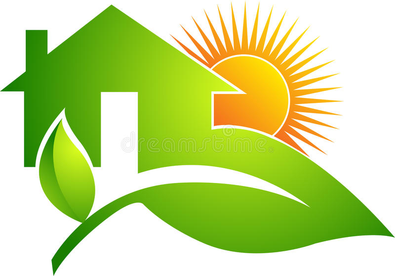 Leaf home logo. Illustration art of a leaf home logo with isolated background
