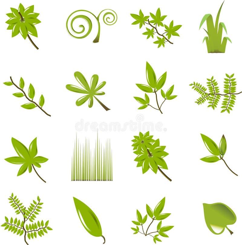 Leaf icon set. Green Leaf icon set (vector
