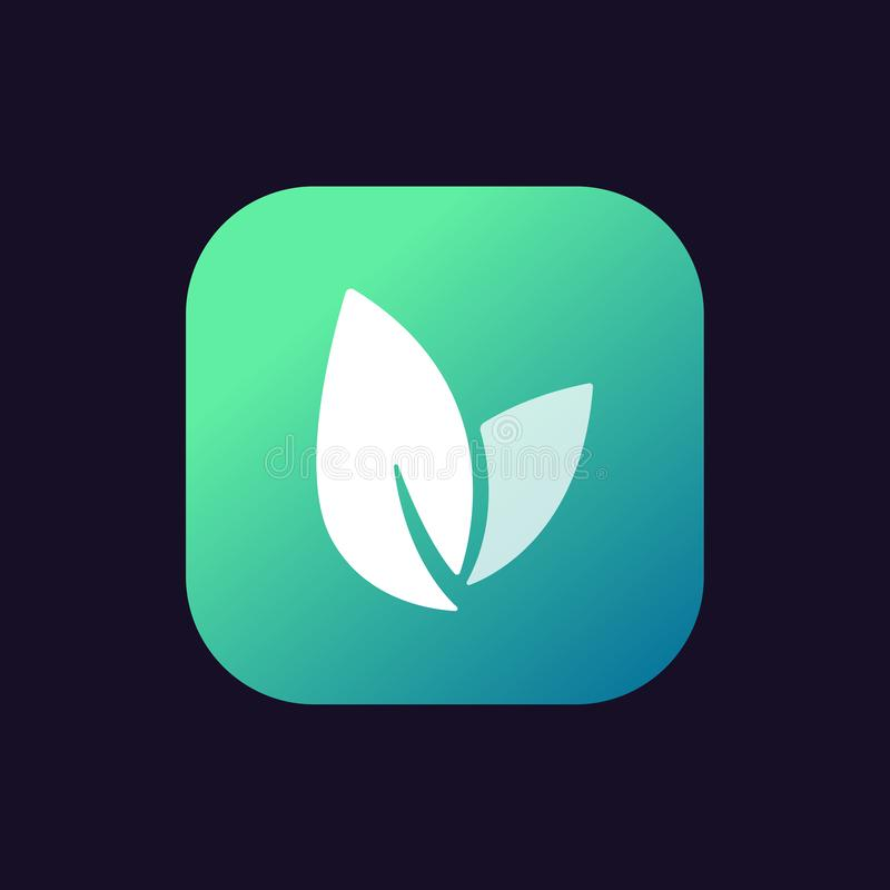 Leaf Icon, vector logo, button. Eco nature healthy concept. Green natural plant symbol. Sign design for web site mobile app royalty free illustration