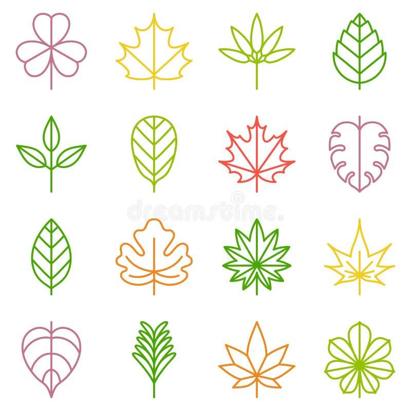 Leaf icons set royalty free illustration