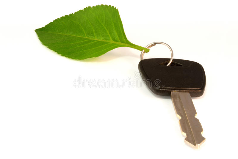 Download Leaf On Key Ring Of Eco Friendly Car Royalty Free Stock Photography - Image: 22513077