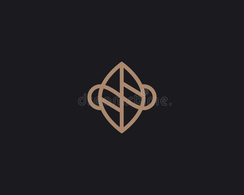 Leaf logo design abstract modern minimal style illustration. Park tree vector icon symbol mark logotype royalty free illustration