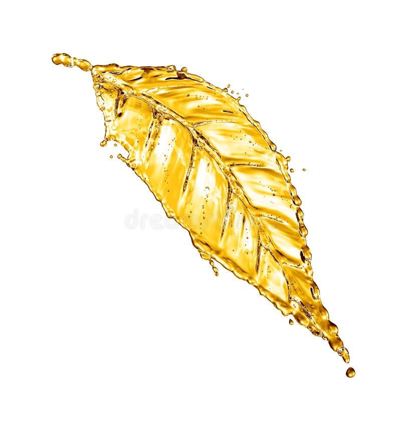 Leaf made of water splash gold color. 3d rendering royalty free illustration