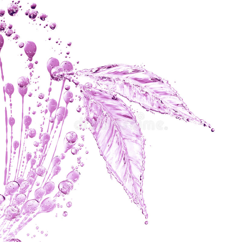 Leaf made of water splash. Pink color. Isolated on white background. 3d rendering royalty free illustration