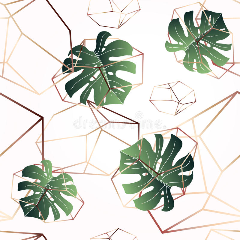 A leaf of monstera and crystals. Seamless pattern. stock illustration