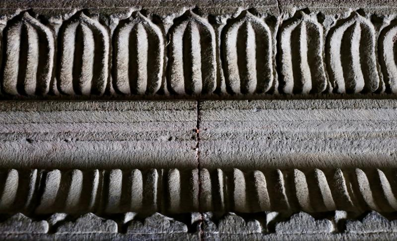 Leaf pattern & shapes design. This is one of the pattern and shape of a leaf inside KalyanSwami Mandir, an ancient indian temple royalty free stock photo