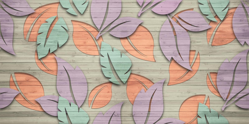 Leaf pattern wooden texture endless seamless tiles design for decor interior home or ceramic tiles design vector illustration