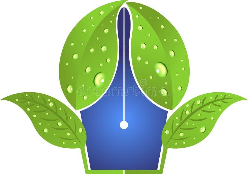 Leaf Pen Logo Stock Vector