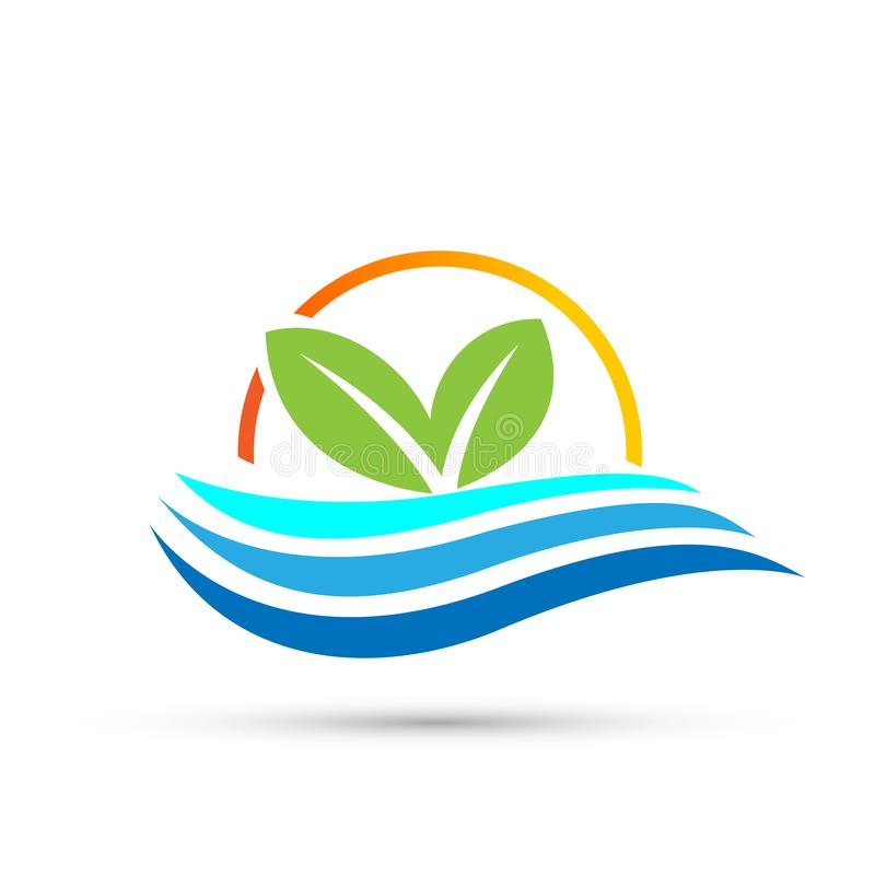 Leaf plant logo ecology sun sea waves wellness green leaves nature people symbol icon vector designs on white background. In ai 10 illustrations for company or stock illustration