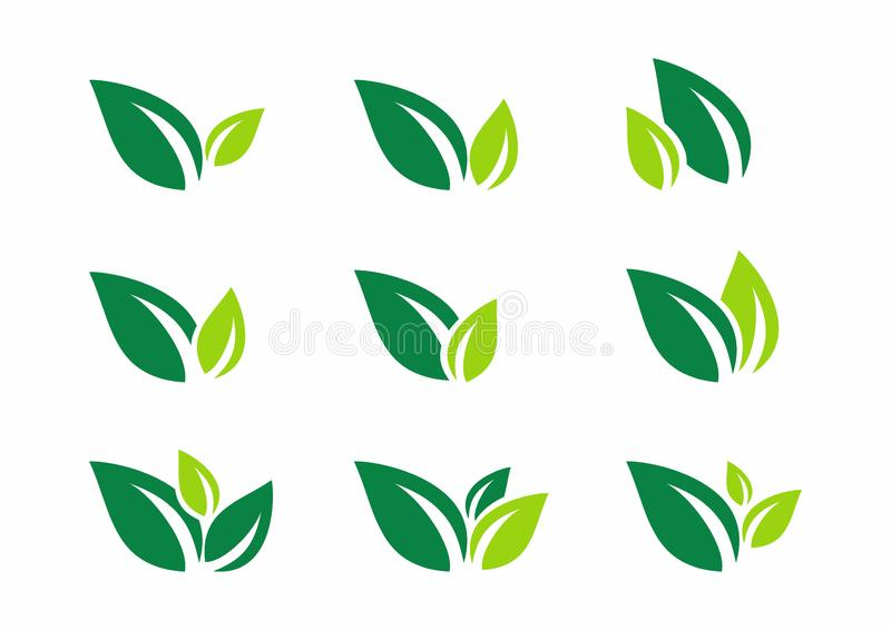 Leaf, plant, logo, ecology, wellness, green, leaves, nature symbol icon set of vector designs. Leaf plant logo agriculture people wellness nature ecology green stock illustration