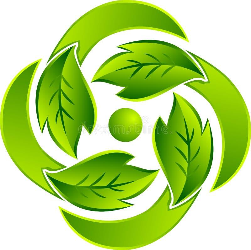Leaf round logo royalty free stock images