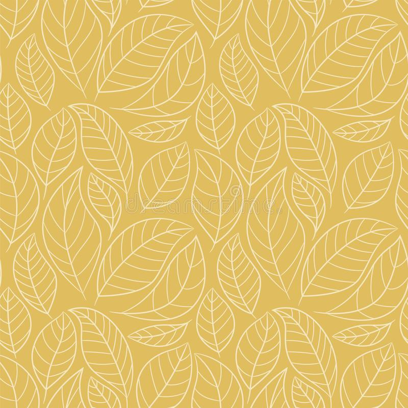 Free Leaf Seamless Pattern. Abstract Floral Background With Leaves. Gold Color Royalty Free Stock Images - 135028519