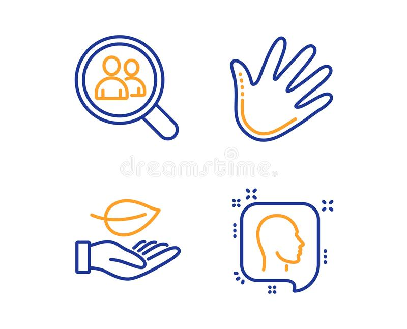 Leaf, Search employees and Hand icons set. Head sign. Plant care, Staff analysis, Swipe. Profile messages. Vector. Leaf, Search employees and Hand icons simple royalty free illustration