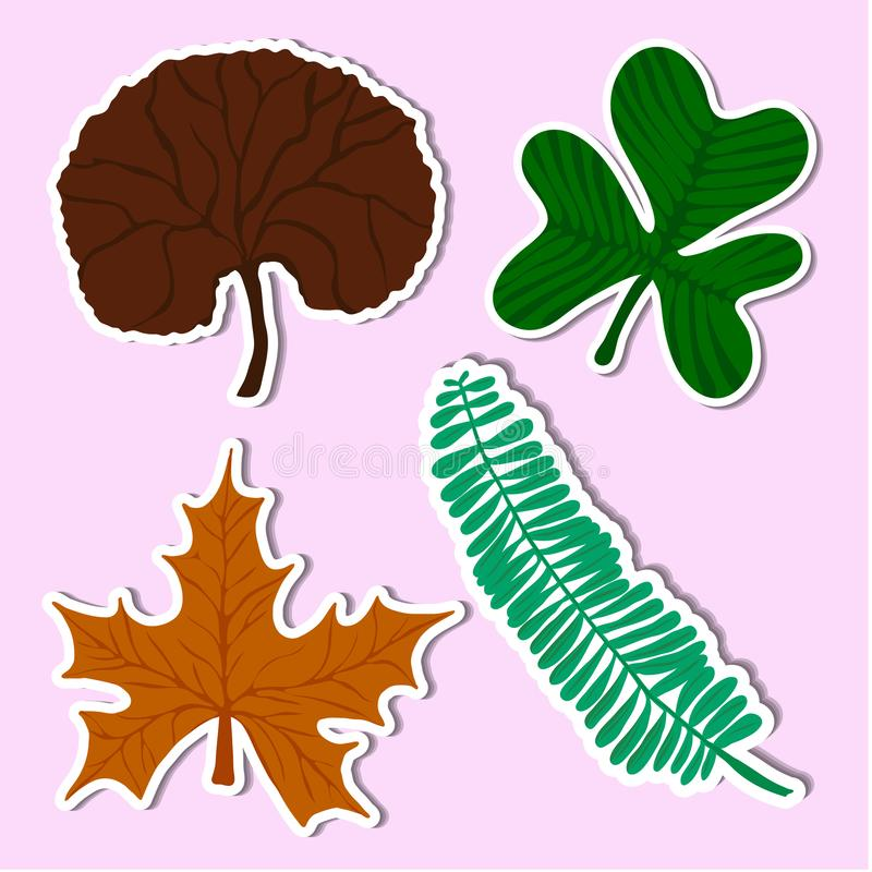 Leaf of simple. Set leaf of simple color illustrations royalty free illustration
