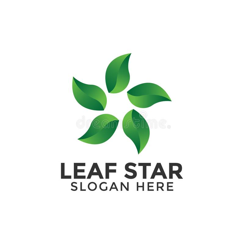 Leaf star logo design template vector isolated. Illustration royalty free stock photography