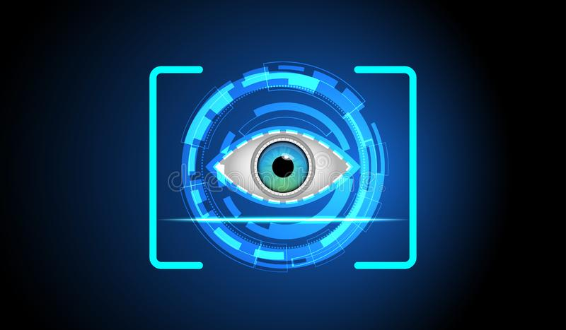 Abstract Digital eye scan Sci-fi futuristic user interface. Technology background. Security technology concept vector illustration