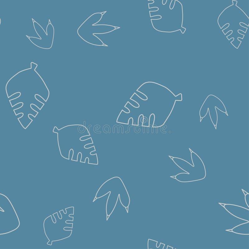 Leaf tree and dinosaur footprint seamless pattern vector illustration