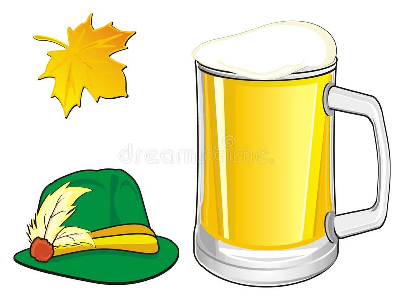 Leaf with two signs. Green hat with glass of beer and leaf vector illustration
