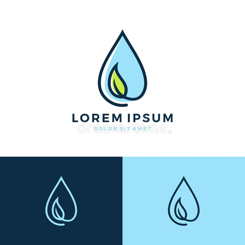 Leaf water drop logo. Vector icon download royalty free illustration