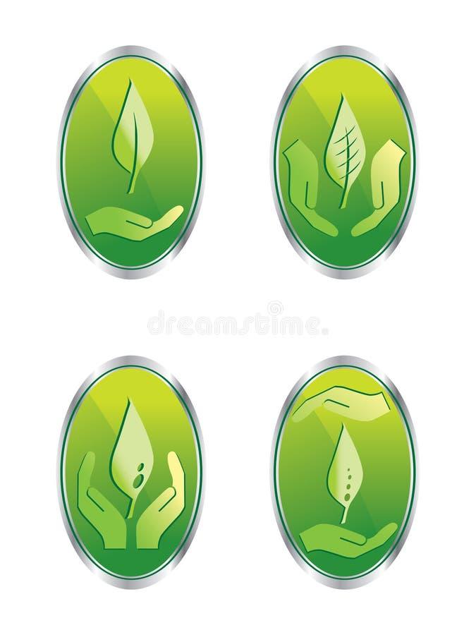 Leaf web buttons set. Illustration royalty free illustration