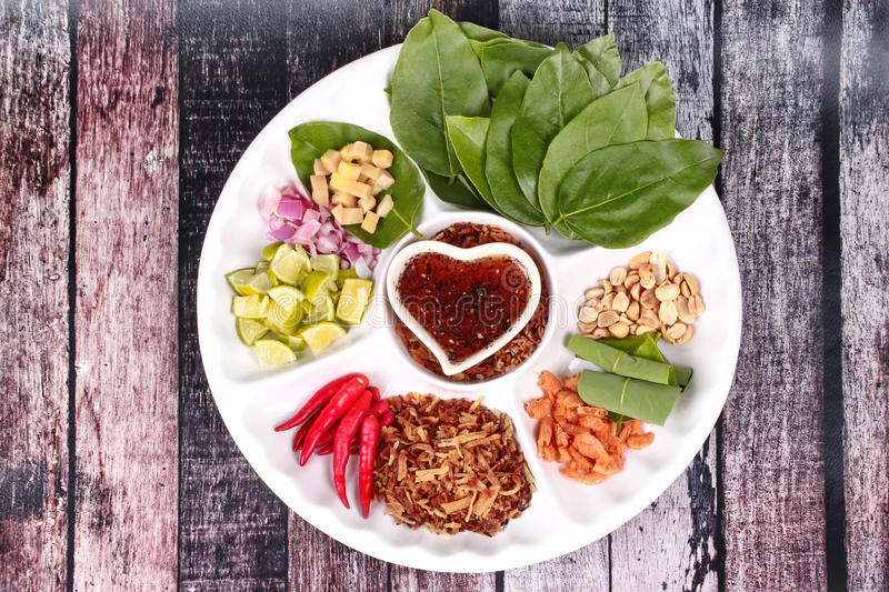 Leaf-Wrapped Bite-Size Appetizer, Miang stock images