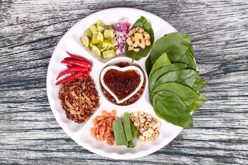 Leaf-Wrapped Bite-Size Appetizer, Miang royalty free stock photography