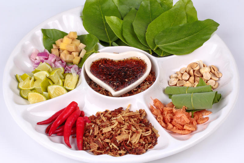 Leaf-Wrapped Bite-Size Appetizer, Miang stock photos