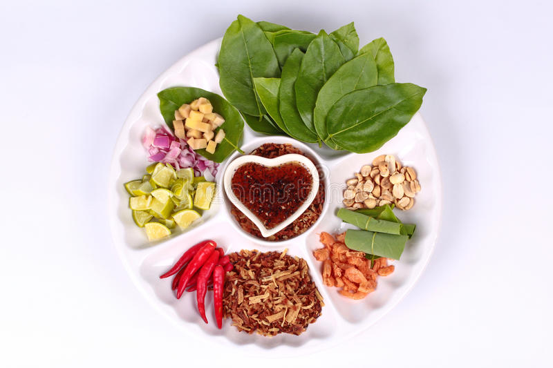 Leaf-Wrapped Bite-Size Appetizer, Miang royalty free stock image