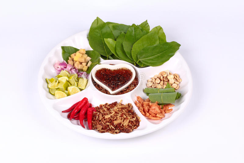 Leaf-Wrapped Bite-Size Appetizer, Miang stock image