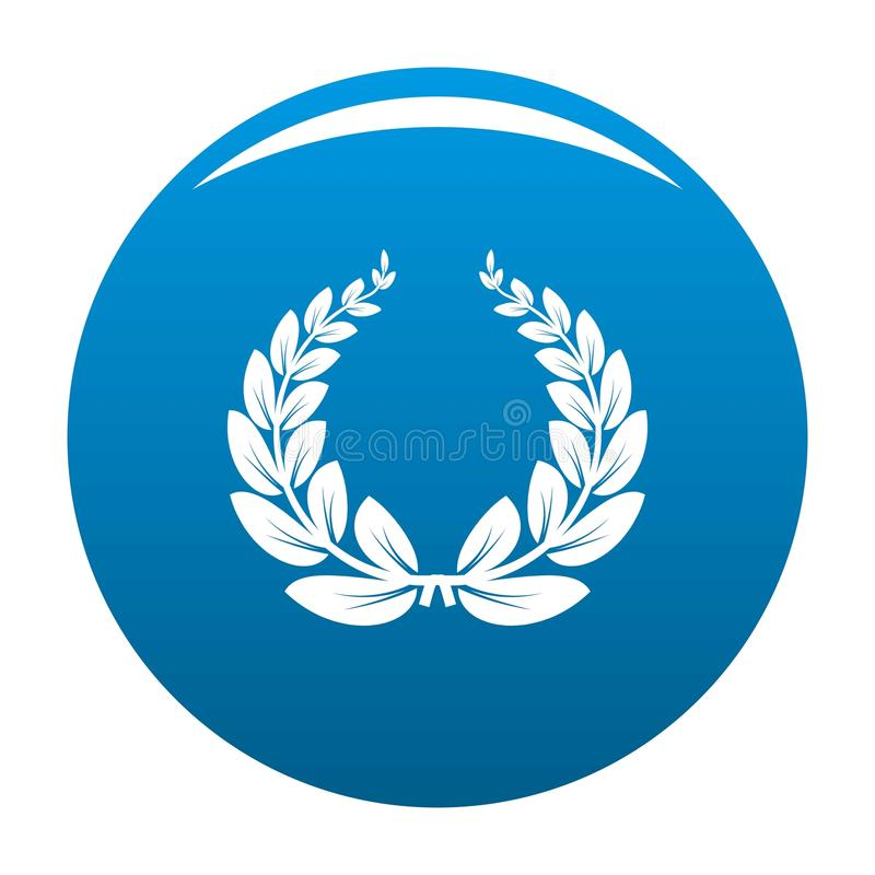 Leaf wreath icon vector blue royalty free illustration