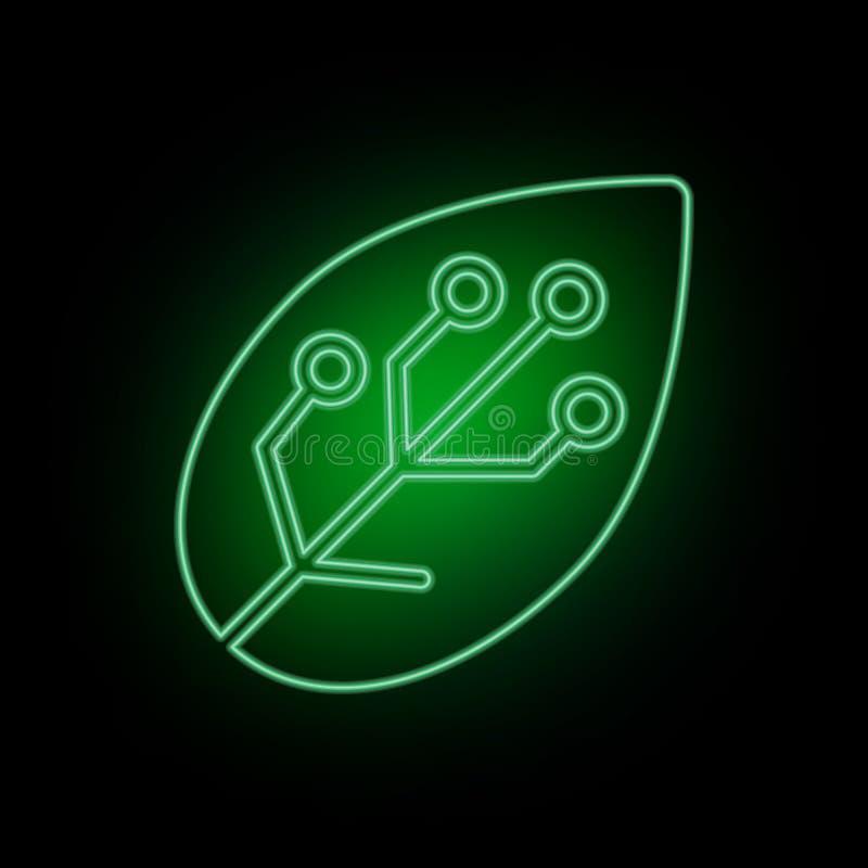 Leafe som är smart, lantgård, symbol, neon Bioteknik och vetenskap, kemiskt laboratorium Vara kan att använda infographic och pre stock illustrationer