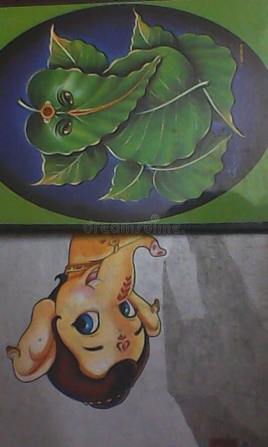 8 leafes的上帝Ganesh装饰 库存图片