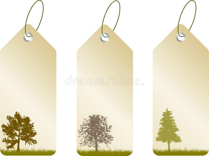 leafetiketter vektor illustrationer