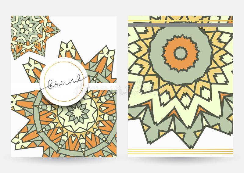 Leaflet with beige mandala . Realistic brochure grey mandalas royalty free illustration