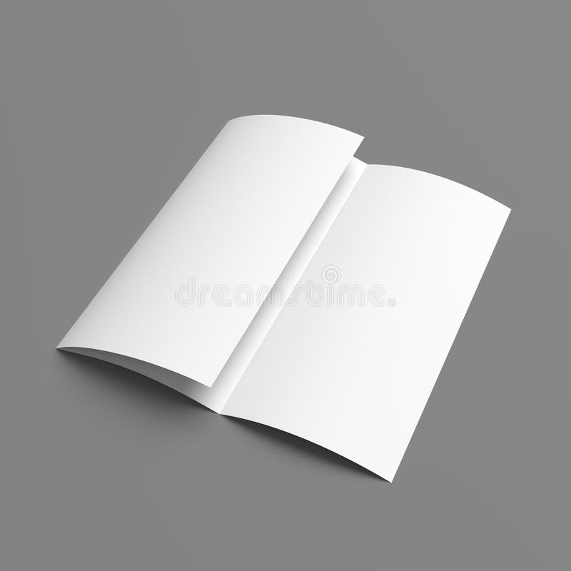 paper brochure holder template - leaflet blank tri fold white paper brochure stock photo