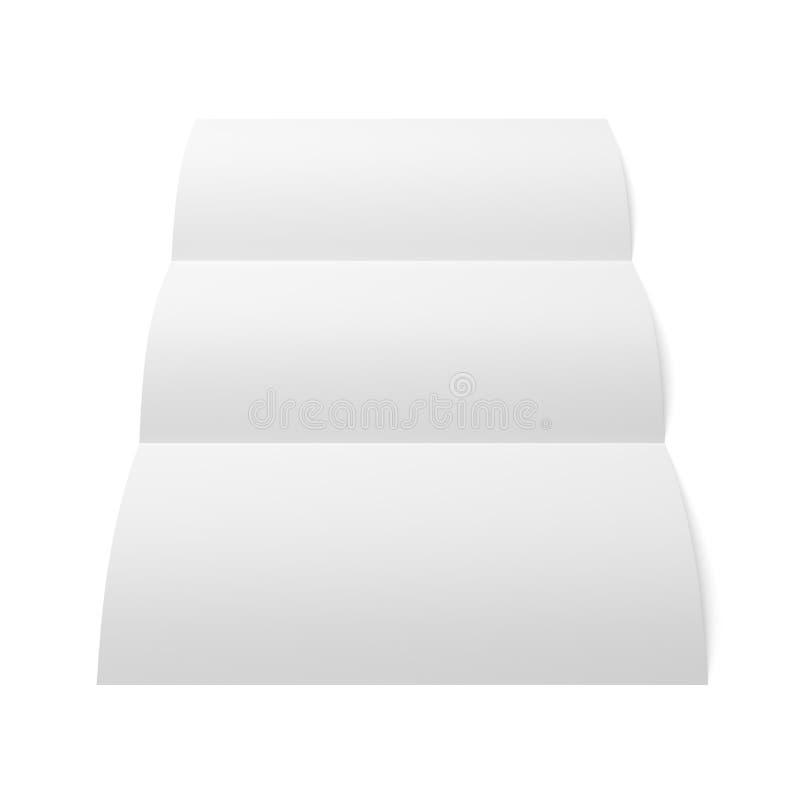 Leaflet blank trifold white paper brochure stock image