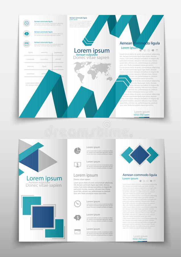 Leaflet cover presentation abstract geometric background, layout in A4 size Blue fold set technology annual report. Blue fold set technology annual report stock illustration