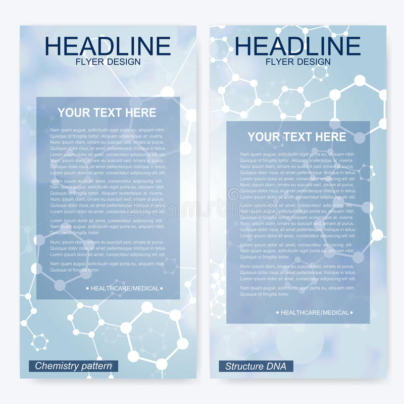 Leaflet flyer layout. Magazine cover corporate identity template. Science and technology design, structure DNA. Chemistry, medical background, business and stock illustration