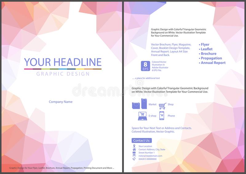 Leaflet Template with Abstract Triangular Background royalty free illustration